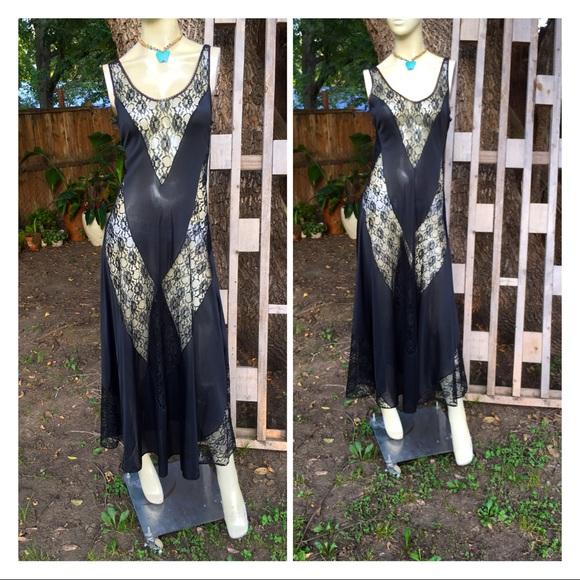 Authentic Vintage Lace & Nylon Lingerie Nightgown